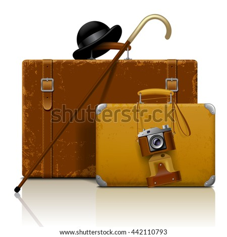 Old suitcases with walking stick, bowler hat and retro photo camera isolated on white.  Vintage voyage and traveling accessories. 3D illustration. Contain the Clipping Path - stock photo