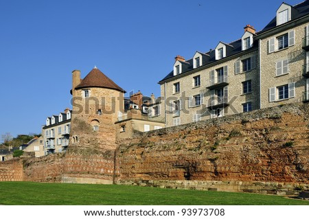 Old surrounding wall and keep at Le Mans, Pays de la Loire region in north-western France - stock photo