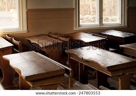 Old Swedish classroom - stock photo