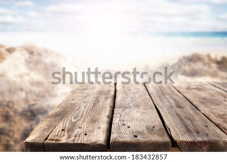 old table and landscape with sea  - stock photo