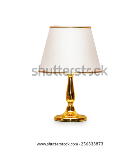 Old table lamp isolated on white background. Object with clipping path - stock photo