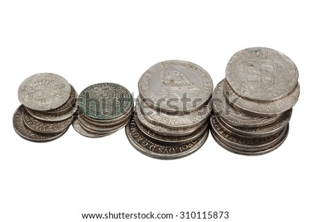old taler silver coins isolated on white background - stock photo