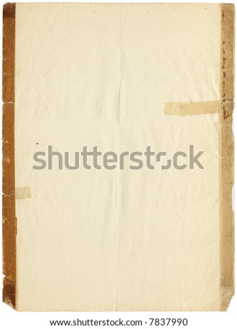 Old taped paper from the early 1900s - stock photo