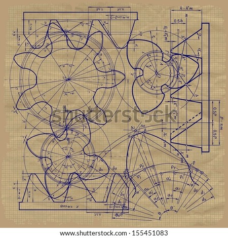 Old technical background, gear on graph paper Raster version. The original is also available in my gallery - stock photo