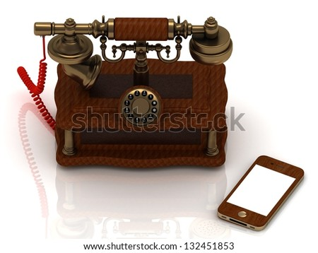 Old telephone is covered with trees, and a new smartphone. concept - stock photo