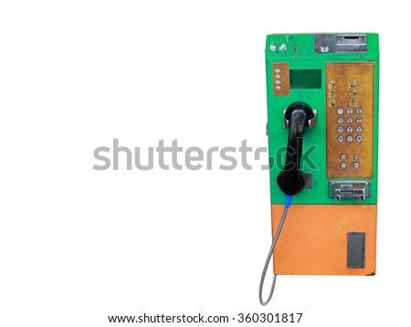 Old telephone isolated on white. - stock photo