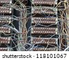 old telephone switchboard  closeup - stock photo