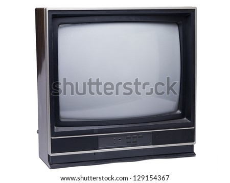 Old television isolated in a white background - stock photo