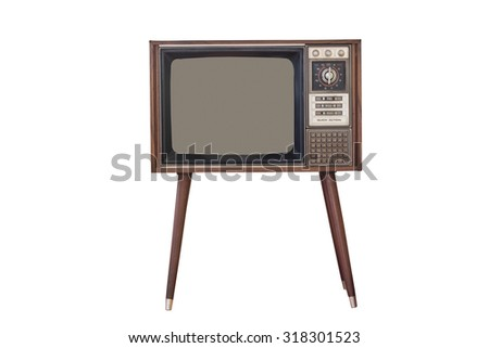 Old television Isolated on white background. - stock photo