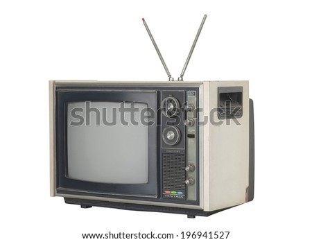 Old television on white background. - stock photo
