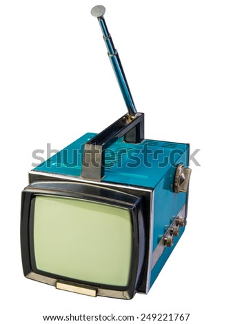 old television with antenna isolated on white background - stock photo