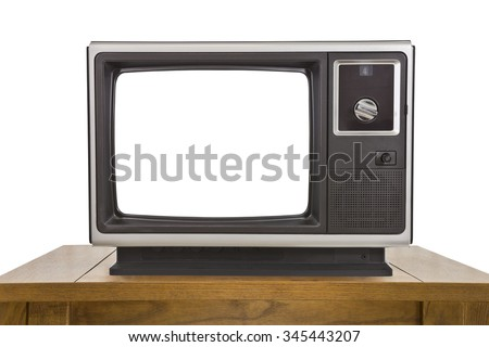 Old television with cut out screen isolated on white. - stock photo