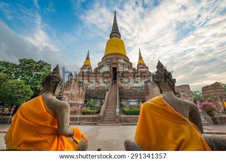 Old Temple Architecture , Wat Yai Chai Mongkol at Ayutthaya, Thailand, World Heritage Site - stock photo