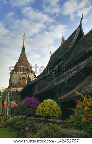 Old temple in Chiang-Mai - stock photo