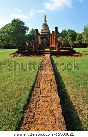 Old temple in Sukhothai - stock photo