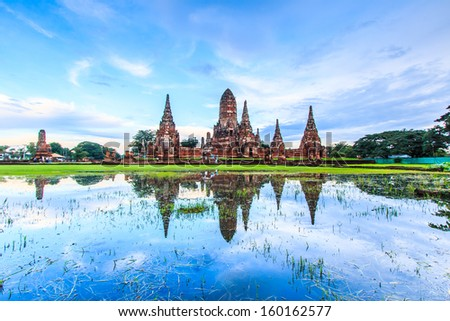 Old Temple wat Chaiwatthanaram of Ayuthaya Province( Ayutthaya Historical Park )Asia Thailand  - stock photo