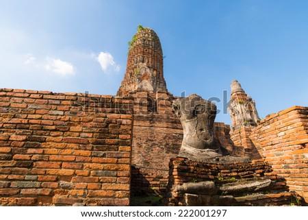 Old Temple Wat Pra Sri San Phet in Ancient Ayuttaya,Thailand - stock photo