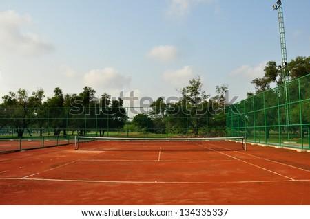 old tennis court - stock photo