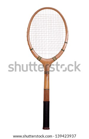 old tennis racket - stock photo