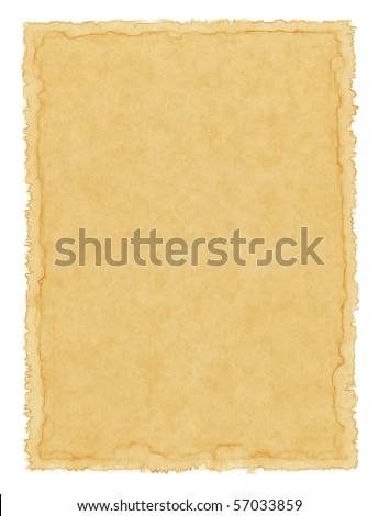 Old textured paper with a water-stained border. - stock photo