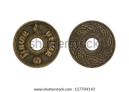 Old thai coins 1 satang year 1935 isolated on white background - stock photo