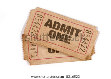 Old ticket : two old torn admit one movie tickets isolated on a white background.   - stock photo
