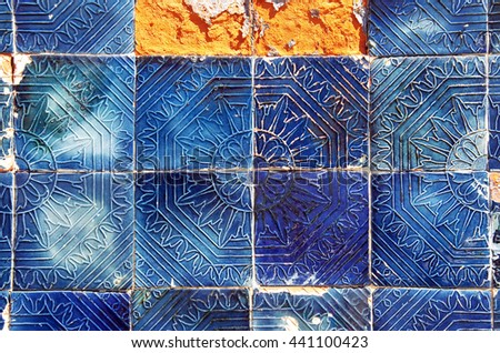 old tiled Blue Background  - stock photo