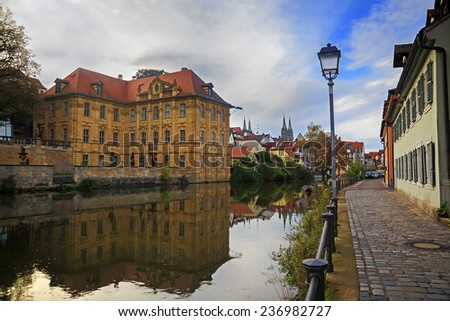 Old timbered house on Bamberg street, Germany  - stock photo
