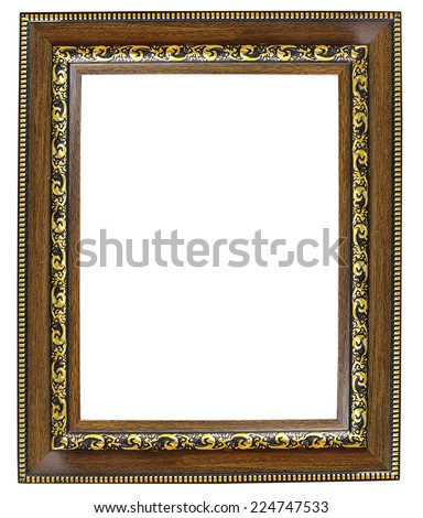 old time vintage red and golden rustic high quality quadratic wooden frame isolated over white - stock photo