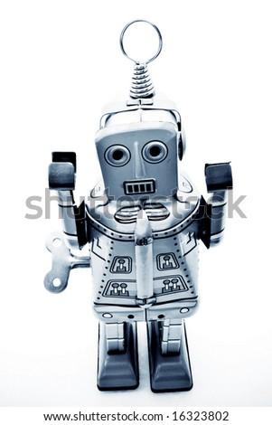 old tin robot - stock photo