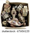 old tin toys - stock photo