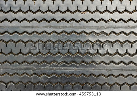 Old tire background , Non-Slip rubber pad made from old tire - stock photo