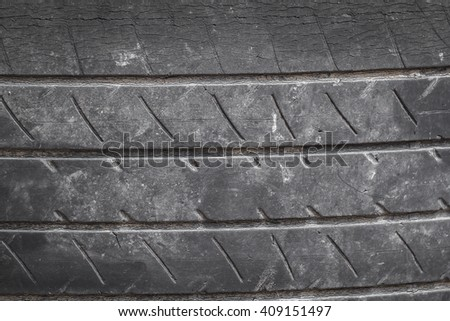Old tires and used tires without grooves. Tire degradation - stock photo