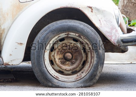 Old tires, which are damaged - stock photo