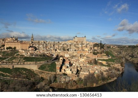 Old Toledo town, former capital of Spain. Famous Alcazar and Cathedral. - stock photo