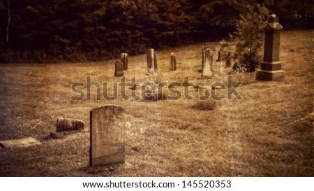 Old tombs in Anglican cemetery, vintage old photography effect - stock photo