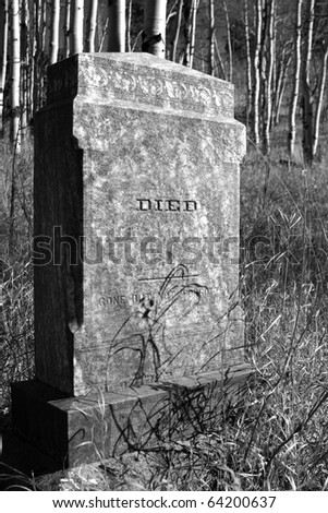 Old tombstone with just the word DIED on it . - stock photo