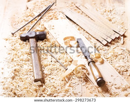old tools in a workshop - stock photo