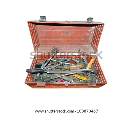 old tools in the box - stock photo