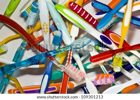 old toothbrushes - stock photo