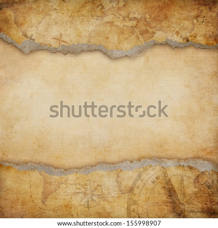 old torn map background - stock photo
