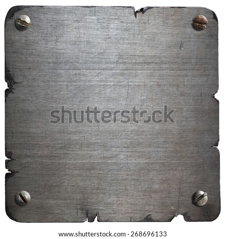 Old torn metal plate with bolts isolated - stock photo