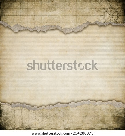 old torn paper vintage map background - stock photo
