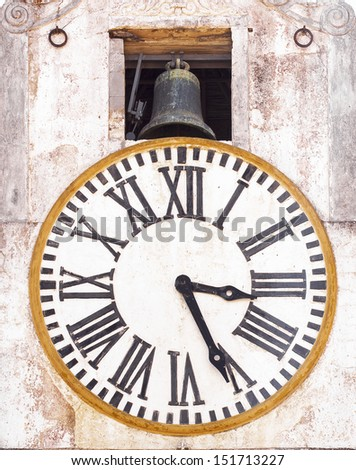 old tower clock and bell - stock photo