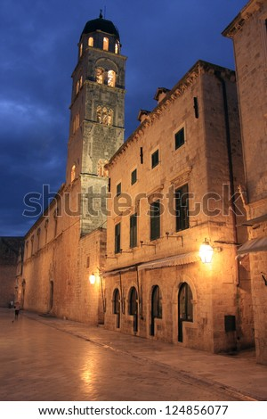 Old town at night, Dubrovnik, Croatia - stock photo