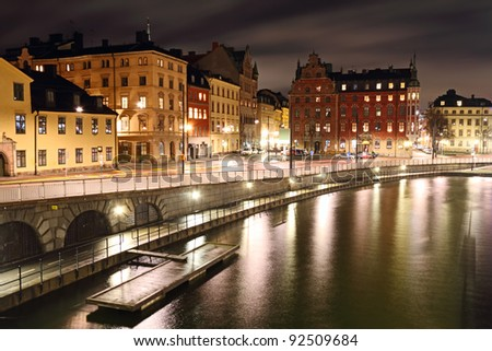 Old town at night, Stockholm, Sweden. - stock photo