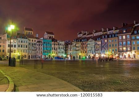 Old Town at night. Warsaw, Poland - stock photo