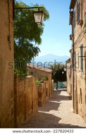 Old Town Castelmuzio, Tuscany between Siena and Rome - stock photo