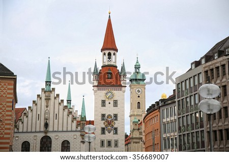 Old Town Hall (Altes Rathaus) building at Marienplatz in Munich, Germany - stock photo