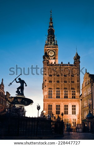 Old Town Hall in Gdansk, Poland, at night - stock photo
